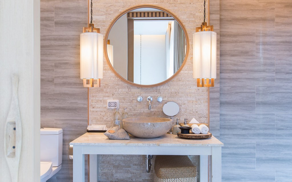 you can also install pendant lights in your bathroom