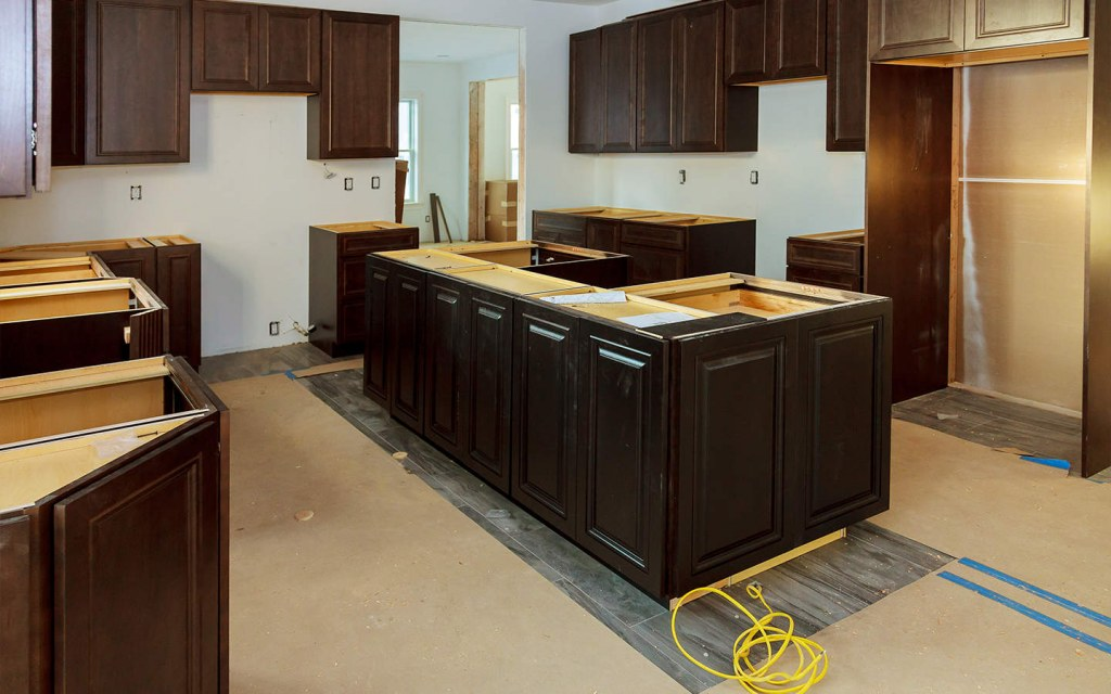 install cabinets in the kitchen