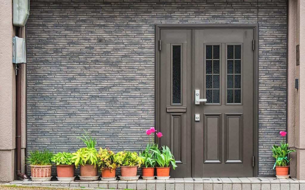 monochrome front door design