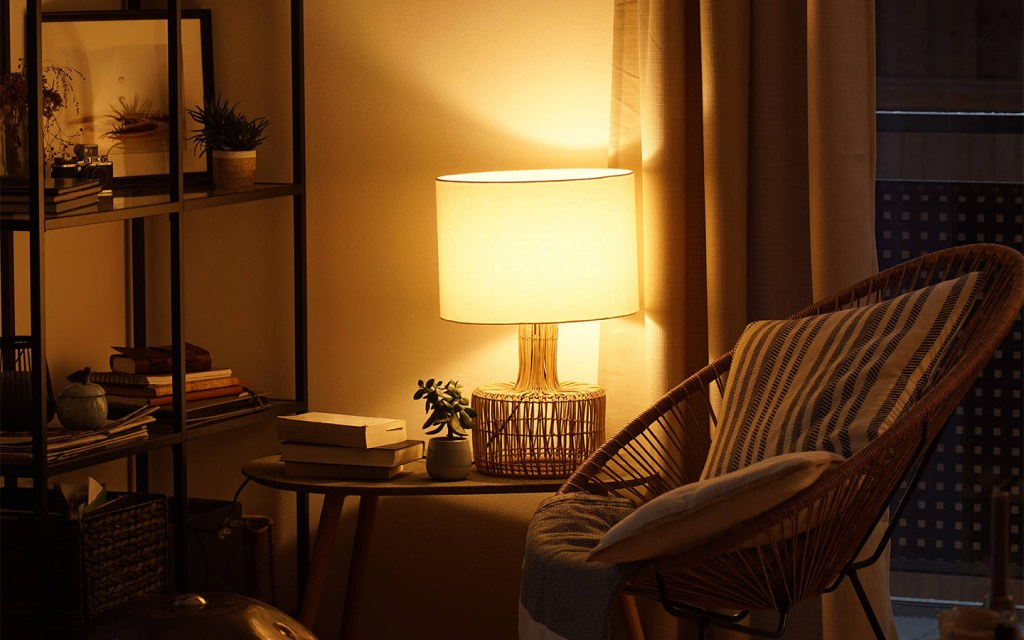 lamp in a reading nook
