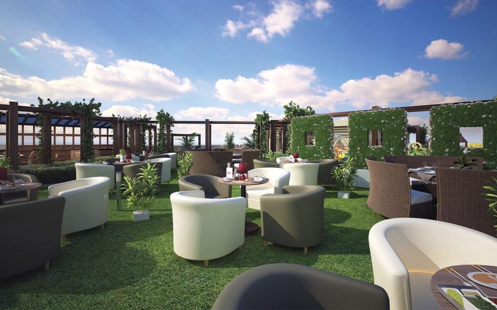 Rooftop garden views at Khadeeja Heights