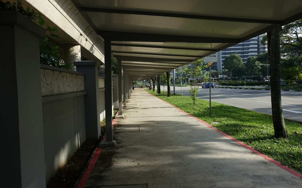 protection from direct sunlight through green corridors