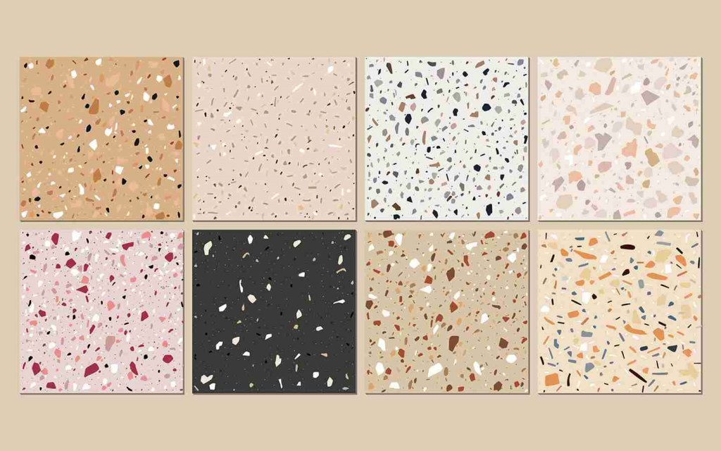 designs and colours of terrazzo
